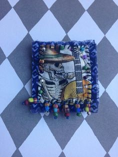 Skeleton Playing the Guitar Hand stitched Bead by creativecaravan