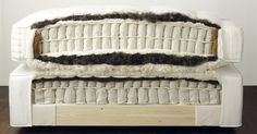 Vi-Spring mattress - coils wrapped in calico fabric, springs surrounded by horsetail, wool, and coir on the edges.  Horsetail covered in thick ticking.