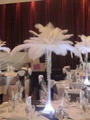 Feathered towering centerpieces, I am giving you a hard eye roll.