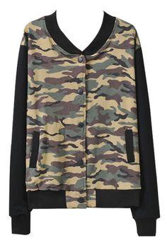 Camo Pattern Paneled Baseball Jacket