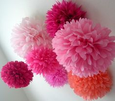 Pink pom poms in varied shades for 1st Bday party decor