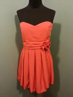 XXI Forever 21 Coral Strapless Shirred Waist Rosette Strapless Bubble Dress M $24 Free Shipping!