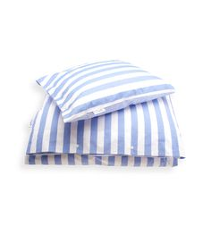 Big Stripe Blue Bedding - 100% Percale Cotton, 200 TC. Bed linen with wide blue and white stripes, contrasting small pinstripe on opposite face. By Newport Collection