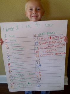 """""""Things I Like to Eat"""" poster. Kids have to write 30 things they like to eat on the poster. They will probably discover new foods they like in an effort to fill in all 30 spaces!"""