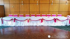 Wedding Chair Covers Montreal Commode Accessories 185 Best Decor Reception Images Celebration Gatsby Modern Chic Ruffled Rouge Fuchsia Sashes Head Table Draping