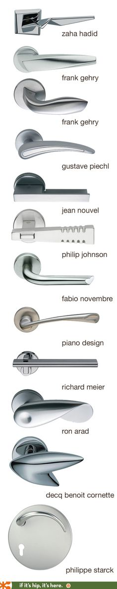 Door levers and handles by famous architects and designers. - Door levers and handles by famous architects and designers. Architecture Details, Interior Architecture, Interior And Exterior, Zaha Hadid Architecture, Architecture Quotes, Chinese Architecture, Futuristic Architecture, Eames Design, Door Design