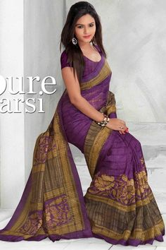 Violet Bhagalpuri Saree With Unstitch Blouse