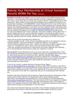 Making Your Membership at Virtual Assistant Forums work for you