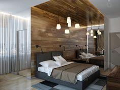 Спальня, черная мебель, зеркальная стена, паркет на стене, мебель германии