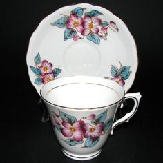 Colclough Pink Purple Flowers Teacup and Saucer