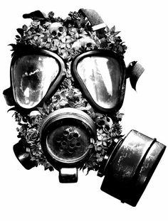 Gas mask with flowers and skulls tattoo design