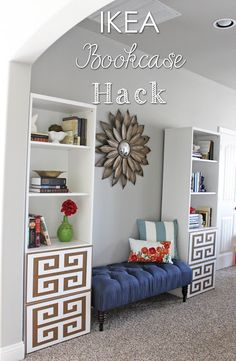 IKEA Bookcases Hack!  Turn plain old IKEA bookcases into so much more.  Spray paint + Overlays = awesome!