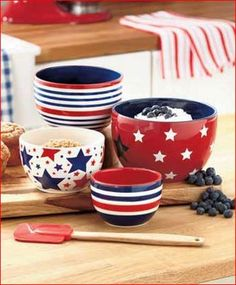 Set of 4 Multicolor Mixing Bowls turns cooking and serving into an event. Each of the bowls has a different design and colors. & American Flag Napkin Set of 4 | Place setting Napkins set and ...