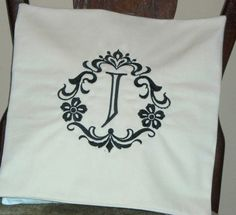 Pillow Cover-Damask Initial J Pillow Cover-Cotton Pillow