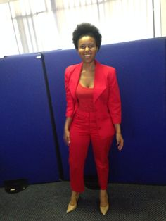 Red Suit and crazy woman hair