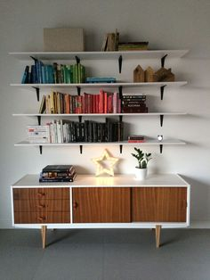 Renew vintage dresser from and bookshelves in my living room. Lightbox star is also my work :) Furniture Makeover, Cool Furniture, Furniture Design, Living Room Inspiration, Interior Inspiration, Styling Bookshelves, White Buffet, Room Interior Design, Wall Spaces