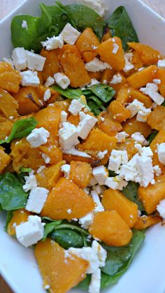 Roasted Pumpkin with Spinach and Feta Salad Recipe Plus Video Instructions