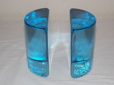 Vintage Light Blue Blenko Glass Half Moon Bookends Mid Century