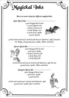 Book of Shadows:  BOS Magickal Inks page.- Pinned by The Mystic's Emporium on Etsy