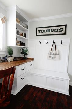 mudroom desk with hooks and bench