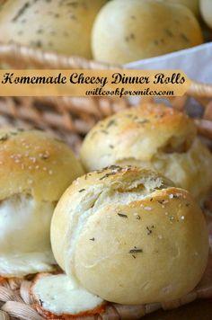 Homemade Cheesy Dinner Rolls | willcookforsmiles.com | #bread #rolls