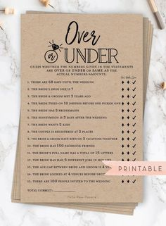 Over or Beneath Printable Sport . Bachelorette Hens Get together . Instantaneous Obtain . Rustic Kraft + Black and White – Wedding Fun Bridal Shower Games, Bridal Shower Planning, Printable Bridal Shower Games, Bridal Shower Party, Bridal Shower Rustic, Rustic Bridal Shower Decorations, Bridal Party Games, Couples Shower Decorations, Couples Shower Themes