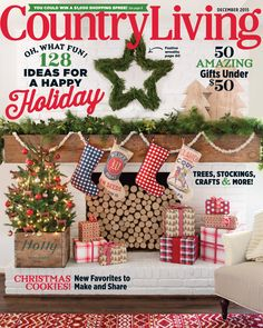 Check out the December 2015 issue of Country Living Magazine featuring fresh-cut Green Valley Christmas Trees! Happy Holidays, Christmas Holidays, Christmas Wreaths, Xmas, Christmas Decor, Country Christmas, All Things Christmas, Vintage Christmas, Country Living Magazine