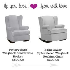 If you Love the Pottery Barn Wingback Rocking Chair, you'll Love this Eddie Bauer Rocker for $399! | Money Saving Sisters