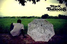 Black Baloons - India - hand painted umbrellas