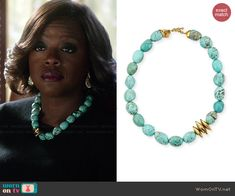 Annalise's turquoise necklace on How to Get Away with Murder.  Outfit Details: http://wornontv.net/45660/ #HTGAWM