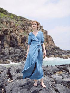 Edgy Outfits, Fashion Outfits, Fashion Clothes, Womens Fashion, Blue Summer Dresses, Blue Dresses, Maxi Wrap Dress, Linen Dresses