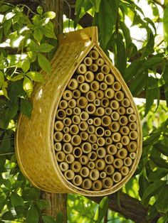 This bamboo house will attract mason bees to help pollinate your garden.