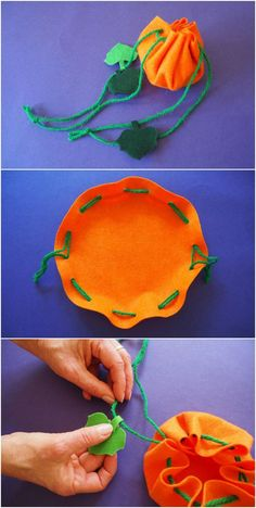Easy Pumpkin Treat Bag Kids Will Love to Make. A cute Halloween favor bags that's a great first sewing project for kids!