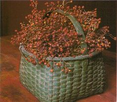 Grungy Green Basket...filled with bittersweet.
