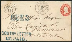 Southern Letter Unpaid cover offered with $20,000 valuation Rare Stamps, Stamp Collecting, Postage Stamps, Southern, Lettering, Cover, Calligraphy, Slipcovers, Stamps