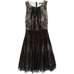 Tibi Silk and lace dress (€275) ❤ liked on Polyvore featuring dresses, vestidos, black, tibi, sheer dress, ruched dress, lace cocktail dresses, sheer lace dresses and fitted lace dress