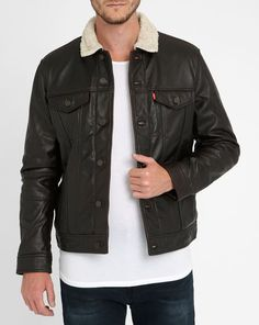 Brown Leather Sherpa Trucker Jacket LEVI'S £300