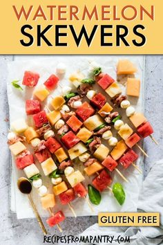 These colourful Watermelon Skewers with a balsamic reduction drizzle are a quick and easy Watermelon Appetizer, salad on a stick or side perfect for BBQs, Game Day, Picnic, outdoor eating and more. Click through for the awesome recipes. Best Appetizer Recipes, Yummy Appetizers, Fruit Recipes, Summer Recipes, Salad Recipes, Snack Recipes, Watermelon Recipes, Potluck Recipes, Savory Snacks