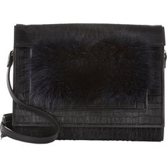 Pierre Hardy Haircalf & Raccoon FV03 Flat Clutch ($1,159) ❤ liked on Polyvore featuring bags, handbags, clutches, black, calf hair handbag, croc embossed handbag, crocodile handbag, flat purse and black clutches