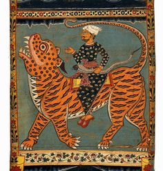 A scene from the legend of Gazi, riding a tiger. One of the 57 registers of a scroll-painting telling the story of a local Bengali pir or Muslim saint who fought demons, overpowered dangerous animals and had power over tigers, abilities important to settlers of southern Bengal as they penetrated the jungles of the Ganges delta. This type of long scrollpainting was used by itinerant story tellers as a visual aid to a spoken narration. OA, 1955.10-8.095  The British Library, London, Great…