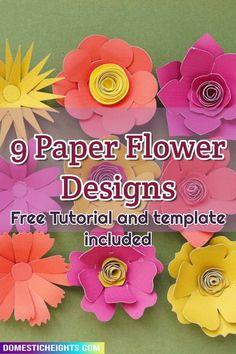 cricut paper flower free svg templates 3d Paper Flowers, Cricut Craft Room, Flower Designs, Free Design, Craft Projects, Hacks, Templates, Diy, Crafts
