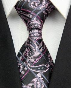 Black+and+pink+men+ | ST0387 Black Pink Paisley Classic Jacquard Woven Silk Men's Tie ...