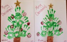 Hand print Christmas tree on canvas board