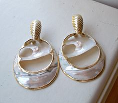 Vintage MOP Shell Door Knocker Earrings Gold by OldTreazureTrunk, $22.00