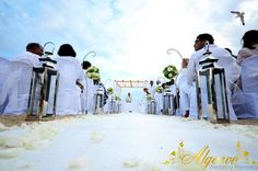White wedding ceremony on the beach Algarve by Algarve Wedding Planners | My Portugal Wedding