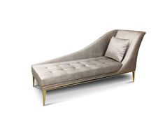 Envy - Chaise - KoketEnvy  Designed with a seductress in mind the Envy Chaise will ignite your affair with luxury design. Fully upholstered with a tailored fixed cushion. This irresistible chaise is accented with soft button tufting and an elegant bolster pillow adorned with a bronze and crystal jewel. A polished brass band wraps the piece leading to modern  sleek polished brass feet. #hpmkt #hpmkt2013