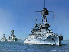American battleships in line ahead, in peaceful times, lead by USS New York