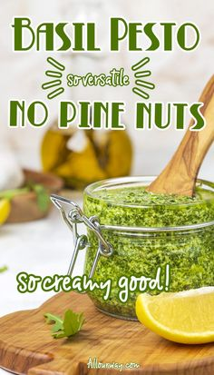 Homemade pesto without pine nuts can be a dip, sauce, or spread that pairs well with many flavors. Try mixing it with rice, risotto or mashed potatoes to see how much better the dish tastes. It is quick to make and versatile. We use walnuts so the pesto is also economical. Try making pesto with other greens - it will be a favorite condiment at your house. Best Dinner Recipes, Jam Recipes, Vegan Recipes Easy, Sauce Recipes, Lunch Recipes, Italian Recipes, Homemade Pesto, Homemade Sauce, Make Ahead Appetizers