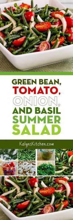 Seriously this Green Bean Tomato Onion and Basil Summer Salad was SO AMAZING! And this wonderful salad is low-carb gluten-free dairy-free vegan Paleo Whole 30 and South Beach Diet friendly so I'd say that makes it perfect for just about everyon Veggie Dishes, Vegetable Recipes, Side Dishes, Vegetable Salad, Vegetarian Recipes, Cooking Recipes, Healthy Recipes, Free Recipes, Green Beans And Tomatoes