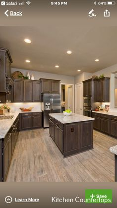 Discover Kitchen Countertops On A Budget Subway Tiles ideas dark cabinets Kitchen Countertops And Backsplash Sinks Dark Brown Kitchen Cabinets, Kitchen Cabinets And Flooring, Dark Wood Kitchens, Brown Kitchens, Dark Cabinets, Kitchen Countertops, Dark Kitchen Floors, Countertop Decor, Farmhouse Cabinets